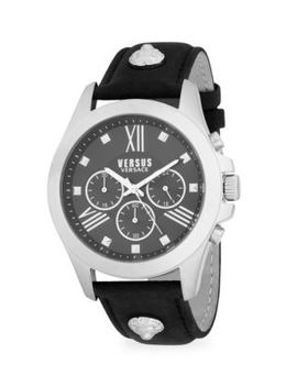 Stainless Steel & Leather Strap Chronograph Watch by Versus Versace