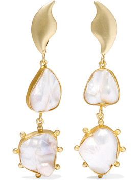 Eos Gold Plated Pearl Earrings by Peet Dullaert