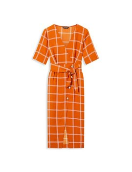 Windowpane Button Front Dress by Miss Selfridge