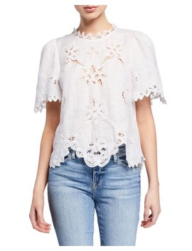 Terri Embroidered Short Sleeve Top by Rebecca Taylor