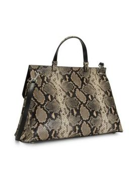 Olympia Python Embossed Leather Top Handle Satchel by Valentino By Mario Valentino