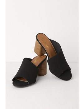 Cate Black Nubuck Peep Toe Mules by Lulus