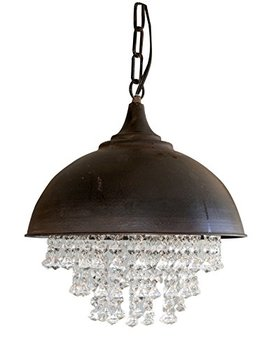 """Creative Co Op Metal Chandelier With Crystals, 13 1/4"""" Round By 15"""" Height by Creative Co Op"""