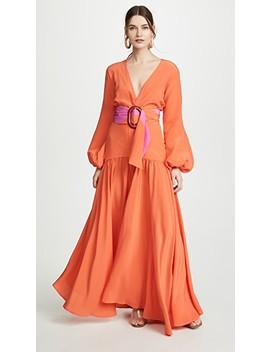 Felicity Belted Deep V Dress by Silvia Tcherassi