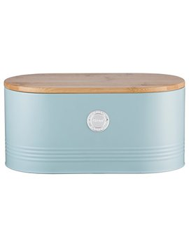 Typhoon Living Carbon Steel Bread Bin With Bamboo Lid, 13 Inches By 7 Inches By 6 1/4 Inches, Blue by Typhoon