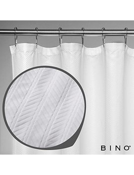 "Bino 'herringbone' Fabric Shower Curtain   70"" X 72""   White Shower Curtain Fabric, Mildew Resistant Shower Curtains For Bathroom Shower Curtains Bathroom Curtain by Bino"
