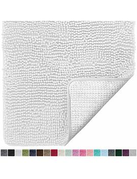 Gorilla Grip Original Luxury Chenille Bathroom Rug Mat (30 X 20), Extra Soft And Absorbent Shaggy Rugs, Machine Wash/Dry, Perfect Plush Carpet Mats For Tub, Shower, And Bath Room (White) by Gorilla Grip