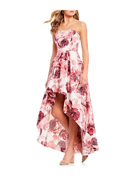 Strapless Floral Print Long High Low Dress by Xtraordinary