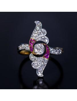 Art Deco Diamond Ruby Platinum Gold Vintage Wing Ring by Etsy