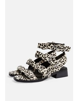 Victory Monochrome Leather Buckle Sandals by Topshop