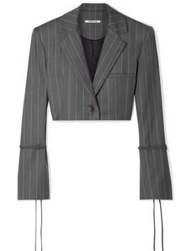 Box Cropped Pinstriped Wool Blend Blazer by Orseund Iris