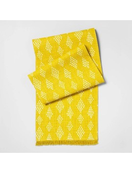 "72""X24"" Diamond Print With Fringe Table Runner Yellow   Opalhouse by Opalhouse"