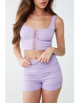 Ribbed Crop Top & Shorts Set by Forever 21