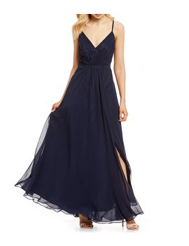 V Neck Spaghetti Strap Pleated Gown by Eliza J