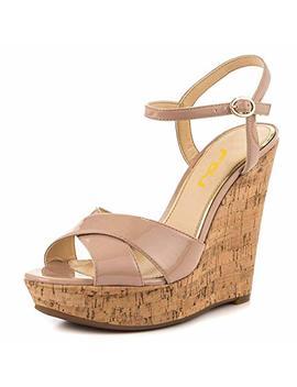 Fsj Women Peep Toe Platform Cork Wedge High Heel Ankle Strap Summer Sandals Party Pumps Size 4 15 Us by Fsj