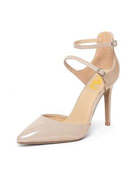 Fsj Women Classy Pointy Toe Stiletto Heels D'orsay Pumps Double Ankle Straps Party Shoes Size 4 15 Us by Fsj