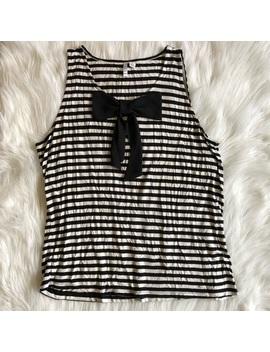 Elle Black & White Striped Tank Top Bow Detail Xl by Elle