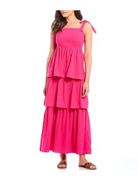 Tie Shoulder Tiered Maxi Dress by Sugarlips