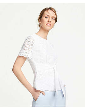 Petite Belted Eyelet Top by Ann Taylor