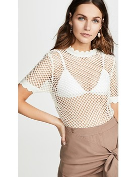 Fishnet Crochet Lace Top by Self Portrait