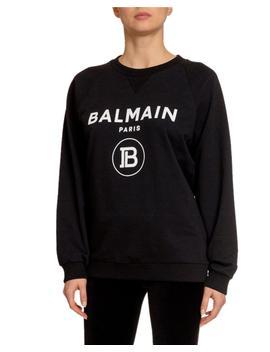 Flocked Logo Crewneck Sweatshirt by Balmain