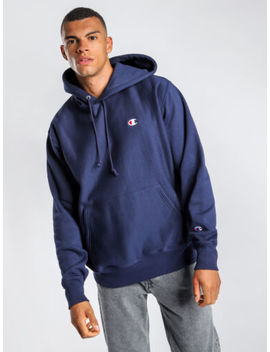 New Champion Mens Reverse Weave Pullover Hoodie In Navy Hoodies &Amp; Jumpers by Champion