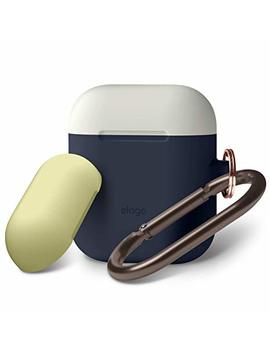 Elago Air Pods Duo Hang Case [Body:Jean Indigo/Top:Classic White,Creamy Yellow]   [Compatible With Apple Air Pods 1 & 2; Front Led Not Visible][Supports Wireless Charging][Carabiner]   For Air Pods 1 & 2 by Elago