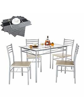 Vecelo Dining Table With 4 Chairs [4 Placemats Included ] Silver by Vecelo