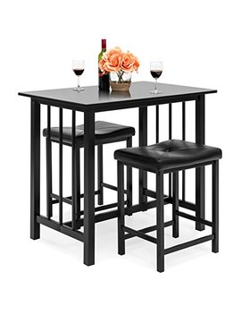 Best Choice Products Kitchen Marble Table Dining Set W/ 2 Counter Height Stools (Black) by Best Choice Products