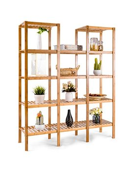 Costway Bamboo Utility Shelf Bathroom Rack Plant Display Stand 5 Tier Storage Organizer Rack Cube W/Several Cell Closet Storage Cabinet (12 Pots) by Costway