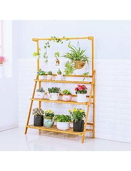 Moutik Bamboo Planter Pot Plants Stand Folding 3 Tier Hanging Flower Display Shelving Organizer Storage Shelves Rack Unit Holder 39.3in by Moutik