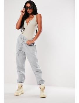 Petite Grey Marl Oversized 90s Joggers by Missguided