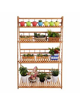Plant Flower Stand Plant Display Shelf Rack Shelf Bamboo Foldable Pot Racks Planter Storage Rack Display Shelving Unit by Mugiazii
