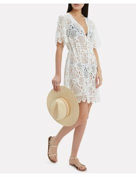 Barrie Cream Lace Coverup Mini Dress by Melissa Odabash