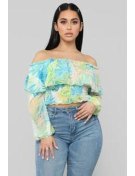 Summer Getaway Off Shoulder Top   Coral/Teal by Fashion Nova