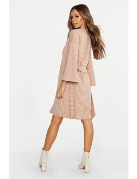Wide Sleeve Belted Pinstripe Duster by Boohoo