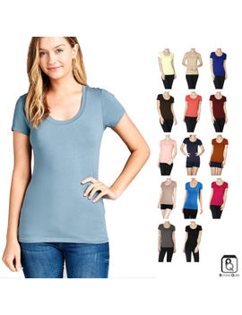 Women's Scoop Neck Plain Tee Short Sleeve Basic Stretch Crew Cotton T Shirt by Active Basic