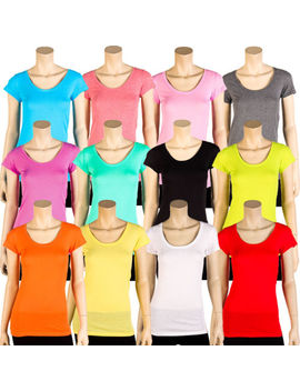Womens Basic Tee T Shirt Short Sleeve Round Crew Neck Solid Colors Plain S M L by Sofra