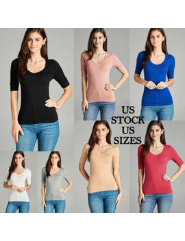 Women Solid Color Scoop Neck Basic Shirt Tee Cotton 3/4 Sleeve Active Basic by Active Basic