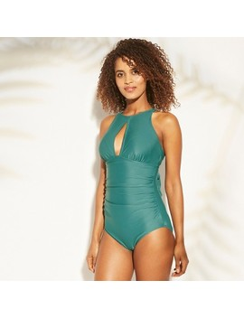 Women's Shirred Keyhole High Neck One Piece Swimsuit   Kona Sol by Kona Sol