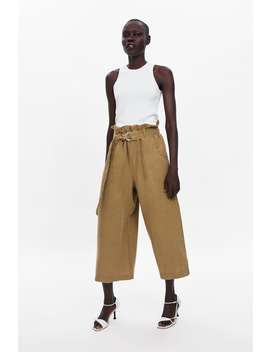 Wide  Leg Linen Trousers With Belt View All Trousers Woman by Zara
