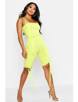 Rib Square Neck Ruched Unitard by Boohoo
