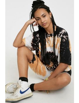 Uo Black + Orange Tie Dye Oversized T Shirt by Urban Outfitters