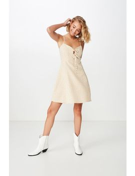 Woven Agnes Tie Front Mini Dress by Cotton On
