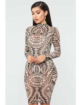 Let's Get Moving Mesh Midi Dress   Taupe/Combo by Fashion Nova