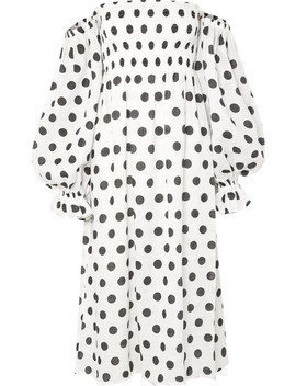 Atlanta Off The Shoulder Shirred Polka Dot Linen Midi Dress by Sleeper