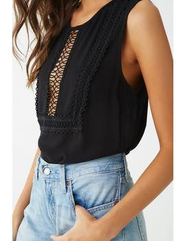 Embroidered Trim Cutout Top by Forever 21