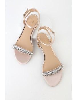 Dalinda Champagne Satin Rhinestone Flat Sandals by Jewel By Badgley Mischka