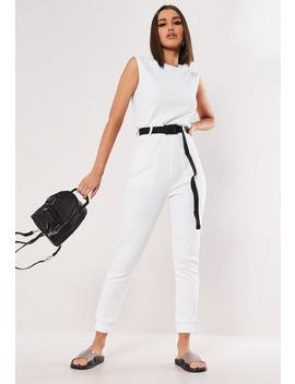 White Belted Sleeveless Ribbed Pocket Jumpsuit by Missguided
