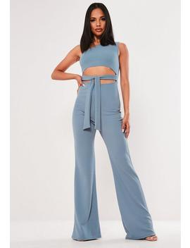 Blue One Shoulder Cut Out Tie Jumpsuit by Missguided